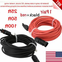 1 Pair Black + Red Solar Panel Extension Cable Wire Connecto