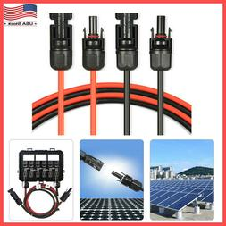 1 Pair Black + Red Solar Panel Extension Cable Wire with Con