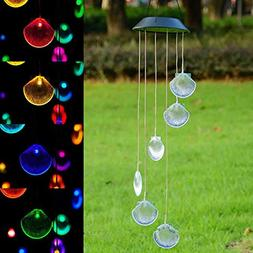 DSstyles 1/2Pcs Wind Chime LED Hanging Pendant Lamp Solar En