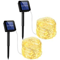 2 Pack 33ft 100 Solar Powered Leds String Lights Waterproof