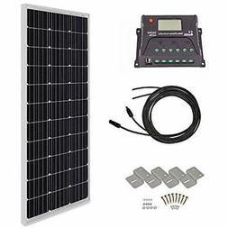HQST 100 Watt 12 Volt Monocrystalline Solar Panel Kit With 1