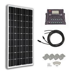 HQST 100 Watt 12 Volt Monocrystalline Solar Panel Kit with 2