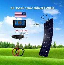 100 Watt Flexible Solar Panel Kit with 10A LCD USB Controlle