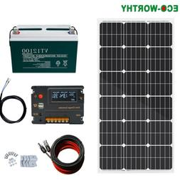 100 Watt Mono Solar Panel Kit with Charge Controller & Cable