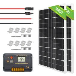 ECO 100W 200W Watt Solar Panel Kit 12V Battery Charge Contro