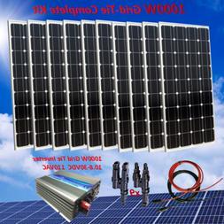 1000 Watt Grid-Tie Complete Kit: 10 x 100W Solar Panel & Pow