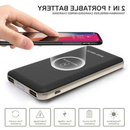 100000mah Power Bank Qi Wireless Charger Dual USB Battery fo