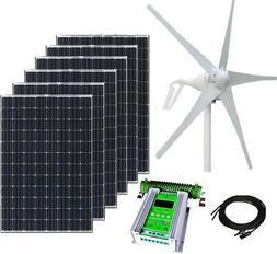 1000W Hybrid Kit: 400W Wind Turbine, 6x100W Mono Solar panel
