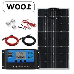 100W 12V/5V USB DC Battery Solar Panel W/ Controller Kits Fo
