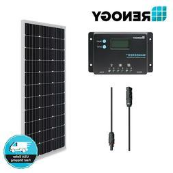 Renogy 100W Watt Mono Solar Panel Bundle Kit W/ 10A PWM LCD