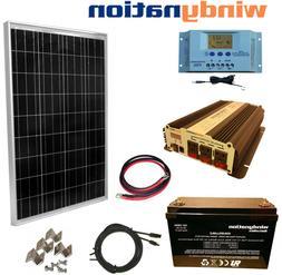 100W 12V Solar Panel Kit + 1500W Inverter + 100ah AGM Batter