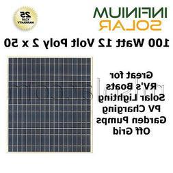 100w  Infinium 12V Solar Panels RV Boat Off Grid Battery Cha