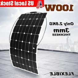100W Flexible Solar Panel Mono Module Boat Roof RV Car 12V B