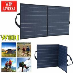 100W Portable Solar Panel Suitcase 12V Battery Charger RV Ca