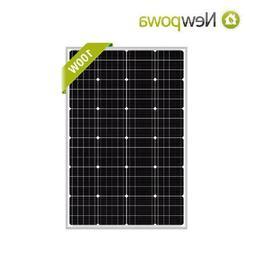 Newpowa 100W Solar panel 100 Watts Monocrystalline charge fo