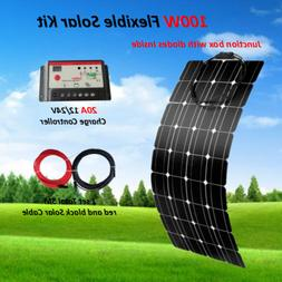 100W Watt 12V Flexible Solar Panel RV Kit + 20A LED Controll