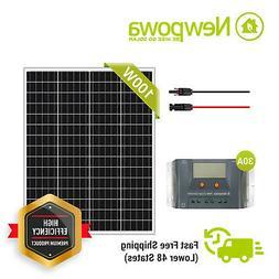 NewPowa 100W Watt 12V Solar Panel + PWM 10A 12V Charge Contr