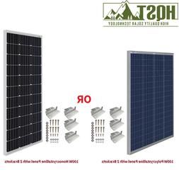 HQST 100W Watt 12V Volt Mono or Poly Solar Panel with Z Brac