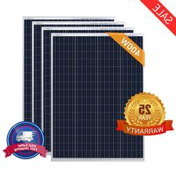 HQST 100W Watt Poly Solar Panel 400W 300W 200W 12V 24V Off G