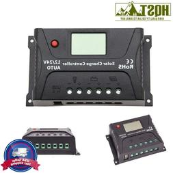 10A 20A 30A PWM Solar Charge Controller LCD 12V 24V Battery