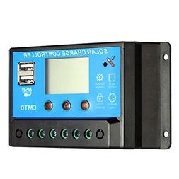 Anself 10A 12.6V LCD Solar Charge Controller PWM Charging Re