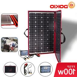 100W Flexible Portable Solar Panel + 12V Controller For Camp