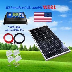 12 Volt Solar Panel System 100 Watt + 20A Controller Battery