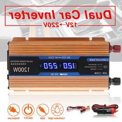 1200W Car Solar Power Inverter DC 12V to AC 110V LCD Modifie