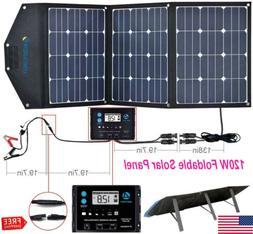 120W Foldable Solar Panel 12V Solar Suitcase Power Bank Hiki