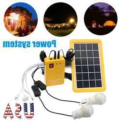 12V USB Solar Panel Generator System Portable Home Kit LED L