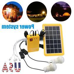 12V USB Solar Panel Generator System Portable Home Kit LED L