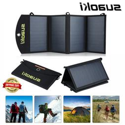 Suaoki 14W Folding Solar Panel Charger USB Power Bank For Sm