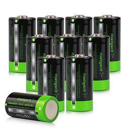 Enegitech 10 Pack 3.2V 16340 450mAh LiFePO4 Rechargeable Lit