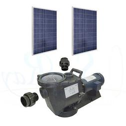 1HP Solar Power Pool Pump Pond 60v 2 Solar Panels Above Grou