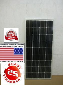 1- 200  Watt 12 Volt Battery Charger Solar Panel Off Grid RV