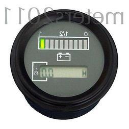 """2"""" 24 Volt Battery Indicator w/ Hour Meter, Gauge -Tri-color"""