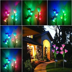 2 Pack Color Changing LED Light Fixtures Lily Flowers Solar