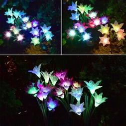 2 Waterproof Solar Panels Powered Lily Flower LED Light Outd