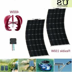 2 X 150W Flexible Solar Panel + 400W Wind Turbine Generator