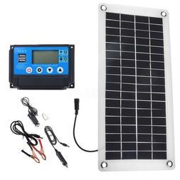 20/25/30W Solar Panel Kit 12V/5V DC Battery Charge Controlle