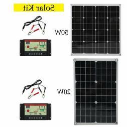 20/50 Watt Solar Panel Kit with 10A LCD Solar Controller 18V