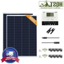 HQST 200 Watt 12 Volt Poly Solar Panel Kit with 30A PWM W/LC