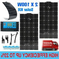 200 Watt 2X 100W Solar Panel Kit + LCD Solar Controller 12V/