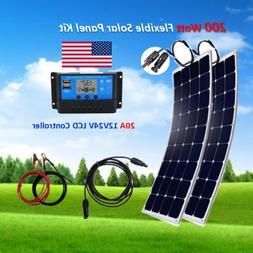 200 Watt Flexible Solar Panel Kit with 20A LCD Controller fo