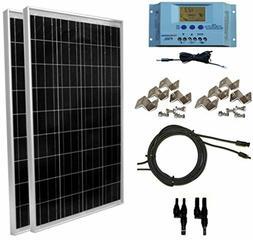 WindyNation 200 Watt Solar Panel Kit MC4 Connectors + Mounti