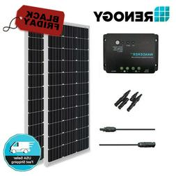 Renogy 200W 12V Mono Solar Panel Bundle Kit Negative Ground