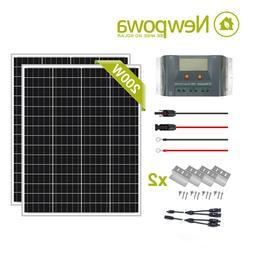 Newpowa 200W 2pcs 100W Monocystalline Solar charge Kit
