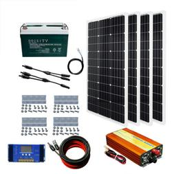 200W 300W 400W Complete Solar Kit With 100AH Battery & 1KW I