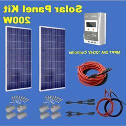 200W Solar Panel Starter Kit+20A MPPT Controller Battery Cha