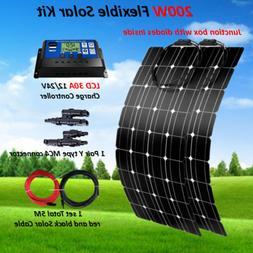200W Watt Flexible Solar Panel Kit + 30A LCD Controller for